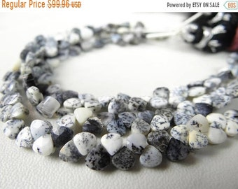 1st ANNIVERSARY SALE--- Dendrite opal faceted heart briolettes/4x4-5x5mm/6 inch strand