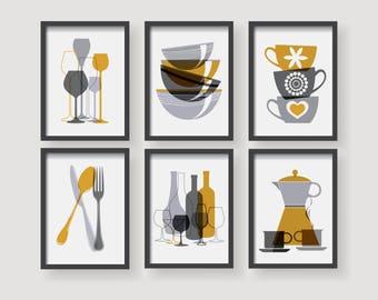 Wonderful Modern Mustard Yellow Kitchen Wall Art, Yellow Kitchen Decor, Kitchen Decor  Set,kitchen Amazing Pictures