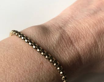 """Vintage Signed IBB Italy Sterling Silver 925 Vermeil Round Box Chain Bracelet, Gold Plated Sterling Silver Chunky Chain Bracelet, 7"""" Long"""