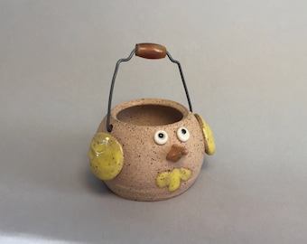 SALE-Miniature Handmade stoneware pottery Spring Easter Chick basket in yellow with wire handle