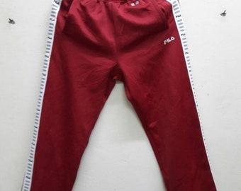 Fila Red color sweatpants jogger track pants Black White Side Tape Medium