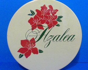 """VTG Azalea Brand Tin Can w/ Lid Large 10 x 3.5"""" Red Flowers Pecan Nuthouse"""
