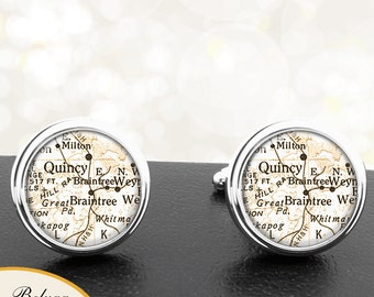 Map Cufflinks Braintree MA Quincy MA Cuff Links State of Massachusetts for Groomsmen Wedding Party Fathers Dads Men