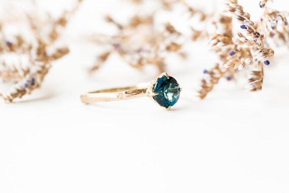 London blue topaz 14k gold classic engagement ring, solitaire topaz engagement ring, vintage inspired twig engagement ring, london blue ring