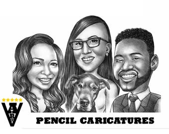 Pencil Caricature, Cartoon from Photo, Caricature from Photo, Pencil Drawing, Black and White Pencil Caricature