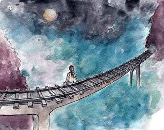 An In Between Place, Watercolour Art Print, Surreal, Painting, Fantasy, Bridge, Train Tracks, Illustration, Postcard, Poster, Gift, Wall Art