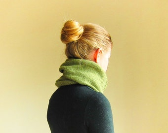 cowl scarf wrap snood knit in moss green