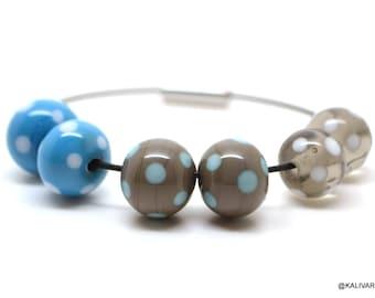 Lampwork glass bead - bead set - / 6 pieces / 3 pairs