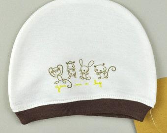 Baby Skull Hat, Infant Hat, Baby Skull Cap, Organic Baby Hat, Newborn Skull Hat, Newborn Girl Hat, Newborn Beanie, Printed Hat, Sleep Hat