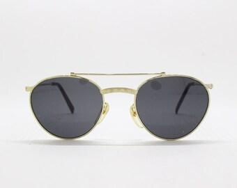 80s vintage sunglasses, NOS glasses, metal frame, black lens, classic design