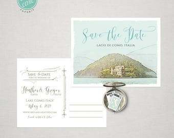 Illustrated Lake Como Italy Europe Save the Date postcard  - Deposit Payment