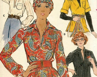 Vintage 70s Butterick 4616 Misses Pullover Smock Tunic Top and Scarf Sewing Pattern Size 14 Bust 36