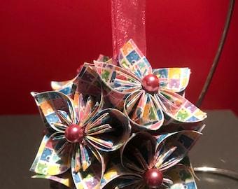 "Handmade ""Carebear Plaid"" Kusudama Flower Christmas Ornament"