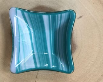 Fused glass plate in swirled green turquoise and white with a small white stripe.  Trinket dish is compact and versital measures 3 in square