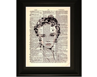"Vanity"".Dictionary Art Print. Vintage Upcycled Antique Book Page. Fits 8""x10"" frame"