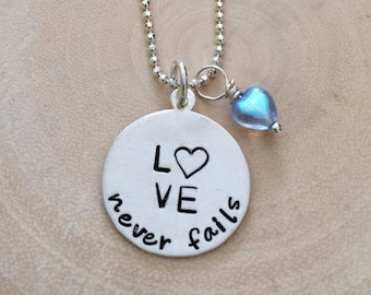 Love Never Fails Necklace - Heart Necklace - Valentine Necklace