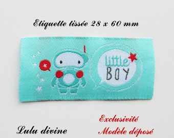 Woven label - little boy - 28 x 60 mm, turquoise bubble Robot