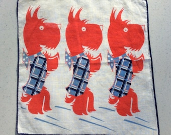 Vintage Hankie Scotty Dogs Wear Tartan Plaid Coats Red White & Blue