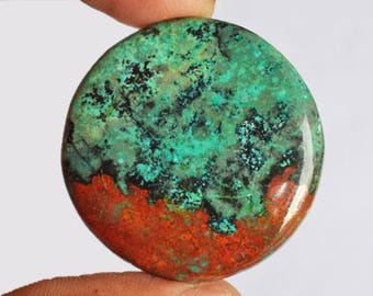 Beautiful Round Shape Natural Red Green Sonora Sunset Jasper Cabochon, Chrysocolla, Red Cuprite, Pendant Jewellery Making, Sonoran, AG-9053