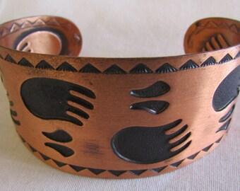 Bell Solid Copper Bearpaw Cuff Bracelet