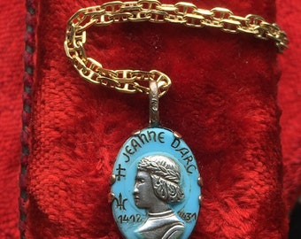 Saint Joan of Arc Medal Necklace Vintage Catholic French Art Nouveau Religious Jewelry First Communion Gift Christian