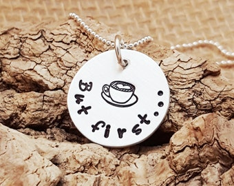 Coffee necklace - But First Coffee Necklace - Coffee Lover Gift - Coffee Drinker Gift  - Sterling Silver Necklace