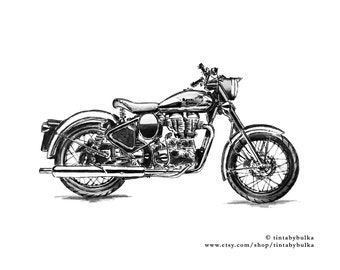 MOTORCYCLE Print Motorcycle Art Motorcycle Art Print Sport Motorcycle Bike Home Decor Bike Poster ROYAL ENFIELD