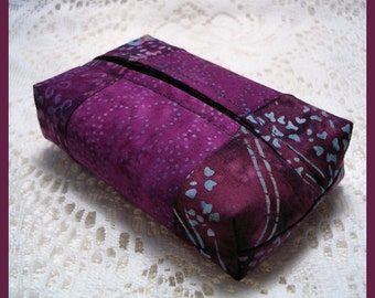 Purse Size Travel Tissue Holder Handmade with Purple Batik Fabrics