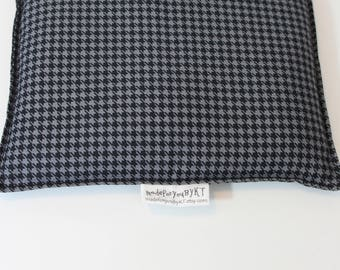 Large Square Rice Bag - 9 x 9 inches, hot or cold therapy pack, rice heating pad, foot warmer, black and gray houndstooth pattern