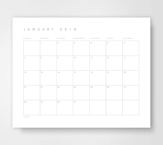 Large desk calendar 2018 calendar printable calendar