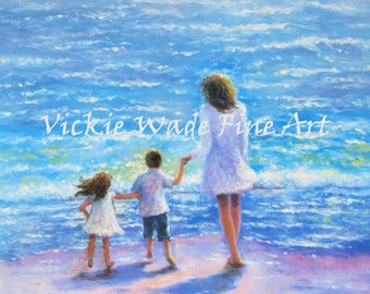 Mother Son and Daughter Beach Art Print, brother and sister, boy and girl beach, beach children, mother's day gift, beach kids, Vickie Wade