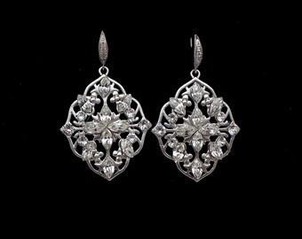 bridal wedding Bridesmaid filigree earrings bridesmaid party jewelry matte white gold shield drop hook earrings swarovski rhinestone deco