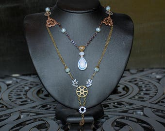 Steampunk Opalite Necklace - Mixed Metals Jewelry - Multistrand Necklace - Crystal Jewelry - Copper Brass Silver - Crystal and Gear Necklace