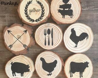 Wood Slice Magnets Farmhouse Style