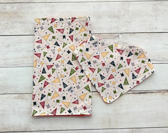 sport burp cloth and bib set - baby accessories - burp pad - baby shower gift - bandana bib - neutral baby gift - drool bib - dribble bib