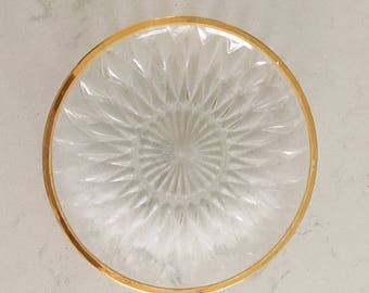 Mid Century Plates Clear With Gold Rim Set of Four