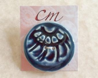 Deep Blue Scallops Porcelain Button-Blue Button-Dark Blue Ceramic Button-Navy Blue Button-Handmade Button-Artisan Button-Gift for Knitter