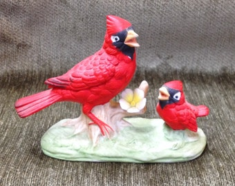 Porcelain Bisque Mother Cardinal with Baby,  Mother Bird With Baby, Red Cardinal Feeding Young Bird, Bird Figurine
