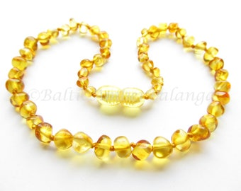 Baltic Amber Teething Necklace, Honey Color Rounded Beads