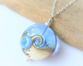 Beach Necklace, Ocean Wave Jewelry, Light Blue Wave Necklace, Lampwork Sea Glass Necklace, Beach Wedding, Gift for Her, Sterling Silver