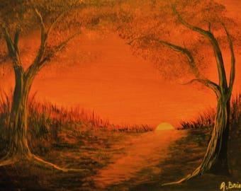 Harvest Sunset Acrylic Painting