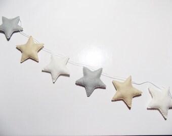 Neutral felt star garland, neutral felt star nursery bunting, grey white and stone star garland,  baby shower garland, teepee decoration