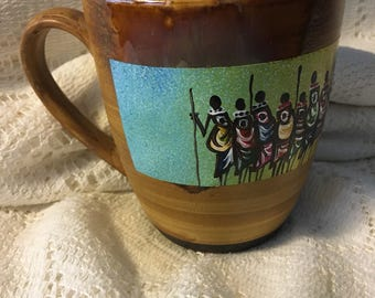 Hand painted coffee mug - striated with African mothers - CM5-16