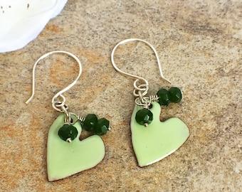 Green jade enamel heart earrings