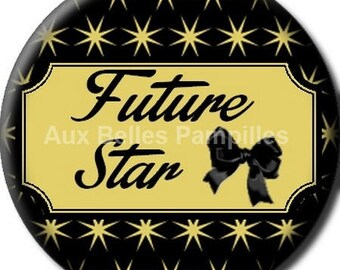 """Round cabochon resin 25 mm - """"star"""" stick (1064) - fashion, trendy, text, Word, gift, gift."""