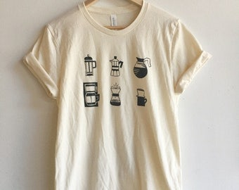 Coffee T-Shirt, Food Shirt, Coffee Screen Printed T Shirt, Clothing Gift, Foodie Gift, Coffee Gift, Soft style tee