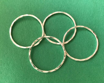 Eight Sterling Silver Hammered Circles - One Inch