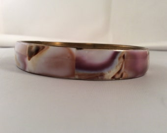 Vintage Shell on Brass Bracelet