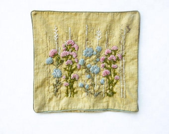 beautiful floral embroidered antique pillowcase