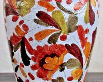 Large Hand-Painted Italian Ceramic Vase
